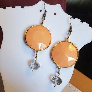 """2"""" Bronze Hook Orange Oval Disc Glass Earrings"""